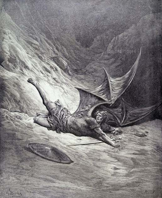 OTB182315 Satan Smitten by Michael, from Book VI of 'Paradise Lost' by John Milton (1608-74) engraved by Antoine Alphee Piaud, c.1868 (engraving) by Dore, Gustave (1832-83) (after); Private Collection; French, out of copyright